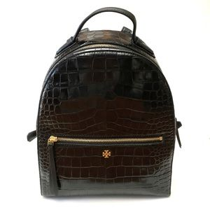 Tory Burch Croc Embossed Leather Mini Backpack